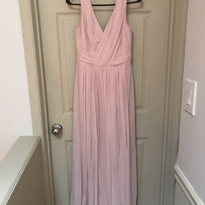 Dessy Collection Blush Chiffon Bridesmaid Gown